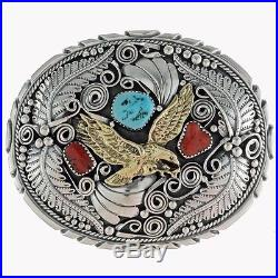 Turquoise Coral Belt Buckle Gold Eagle And Sterling Native Made