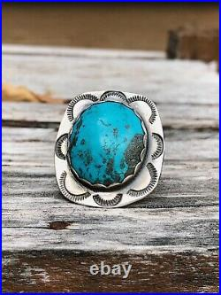 UniqueVintage Old PawnNAVAJO MADEBig Turquoise Sterling SilverRing sz 7