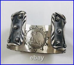 Unique Native American Sterling Silver Hand Made Walking Half Dollar Bracelet