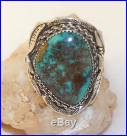 Vintagehand Madenavajonativesterling Silvergenuine Bisbee Turquoise Ring