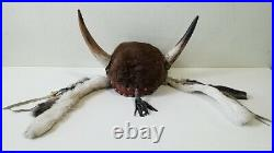 VINTAGE AUTHENTIC Native American Buffalo Headdress with Horns