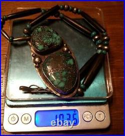 VINTAGE LARGE Navajo Made Sterling Silver & Top Grade Turquoise Pendant 103.8 gr