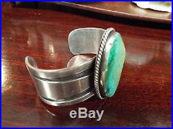 Vintage Old Pawn Signed Native American Made Sterling Silver & Turquoise Bracele