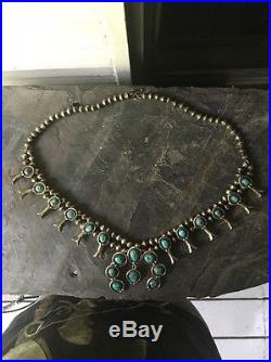 Vintage Sterling Silver Turquoise Hand Made Squash Blossom Necklace