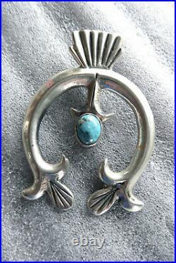VINTAGE STERLING TURQUOISE NATIVE AMERICAN NAVAJO MADE NAJA PENDANT medallion