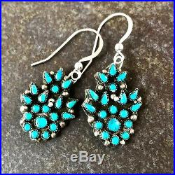 VINTAGE Zuni made Petit Pointe Cluster work earrings