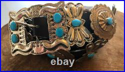 VTG 42 Locally made NAVAJO Nickel SILVER Turquoise CONCHO black leather BELT