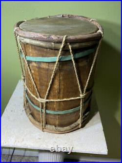 VTG NATIVE AMERICAN RAWHIDE POWWOW LOG DRUM HAND MADE CEREMONY INDIAN 14 Height