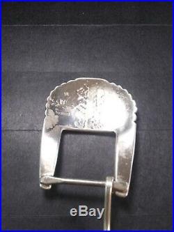 VTG NAVAJO Made Sterling Silver Belt BuckleSigned withR & Broken arrow Scarce