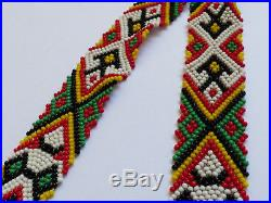 VTG Native American hand made glass seed beads Cascade multistrand necklace