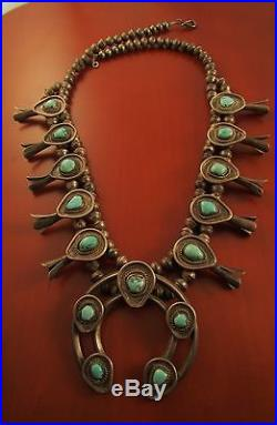 VTG SW SQUASH BLOSSOM With NATURAL TURQUOISE & HAND MADE BENCH BEADS STERLING