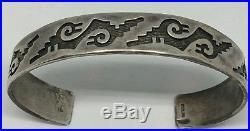 VTG Sterling Silver Hopi Overlay Cuff Bracelet Hand Made Heavy J27