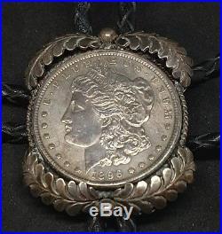VTG Sterling Silver Native American Made 1896 Morgan Dollar Bolo Tie F62