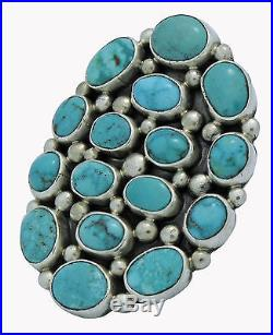 Verdy Jake, Cluster Ring, Morenci Turquoise, Sterling Silver, Navajo Made, 7.5