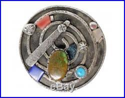 Vernon Begaye, Pot, Lid, Inlay, Multi Stone, Sterling Silver, Navajo Made, 1.75
