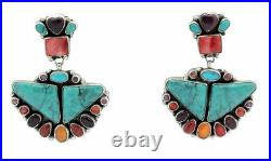 Vernon, Clarissa Hale Earrings, Turquoise, Spiny Oyster Shell, Navajo Made, 2.25