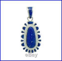 Vernon Haskie, Pendant, Lapis Lazuli, Inlay, Sterling Silver, Navajo Made, 2.75
