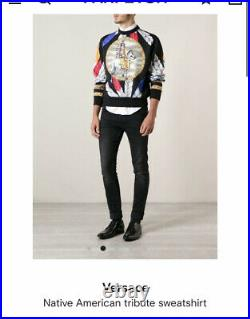 Versace Native American Tribute Mens Sweatshirt Size M Made in Italy