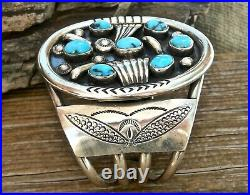 Vin NAVAJO MADE STERLING SILVER & AZ TURQUOISE 2 1/2 WIDE AMAZING CUFF BRACELET