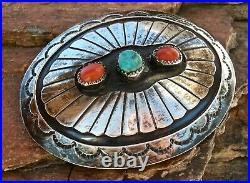 Vin NAVAJO MADE STERLING W TURQUOISE & CORAL STAMPWORK OVAL BELT BUCKLE, GREAT
