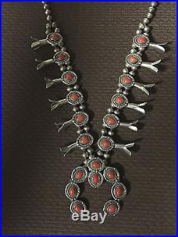Vintage 1960's Navajo Mediterranean Coral Squashblossom HAND MADE Beads Sterling