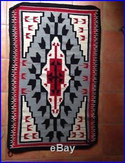 Vintage 60 x 37 Navajo Rug EXCELLENT CONDITION Native American hand made loom