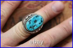 Vintage AL Hand Made Heavy Men's Turquoise Ring 34.6 g Size 10