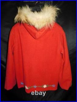 Vintage Alaska Native Made M L Red Wool Coat Coyote Fur Hood Embroidered Flowers