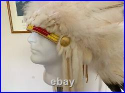 Vintage Authentic Native American Made Headdress Quillwork War bonnet
