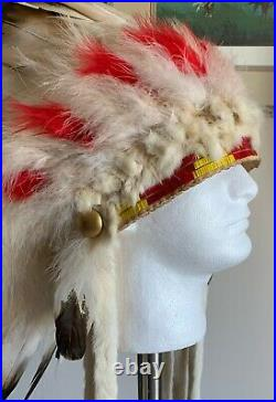 Vintage Authentic Native American Made Headdress Quillwork War bonnet Quilled