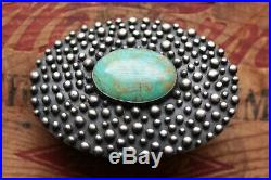 Vintage Beautiful Hand Made Sterling Silver Large Turquoise Belt Buckle