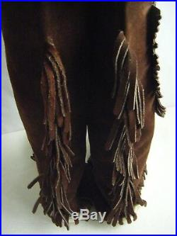 Vintage Brown Suede Native American Custom Made Fringes Wing Tall Boots-6.5/7