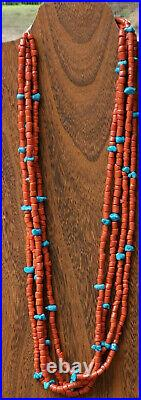 Vintage Coral Trade Beads And Turquoise Native Made Necklace