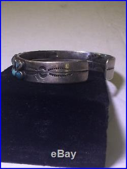Vintage Han Made Zuni Sterling Silver Turquoise Cuff Bracelet. 6 Inches Inside