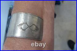 Vintage Hand Made Native American Early Navajo Sterling Hammered Cuff Bracelet