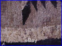 Vintage Hand Made Native American Wool Rug, Black, Cream, Gray Navajo