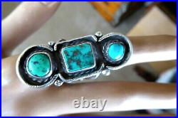 Vintage Hand Made Navajo Native American Sterling Turquoise 1 3/4 Ring Sz 7.25