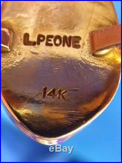 Vintage Hand Made Navajo Solid 14k Yg Elk's Tooth By L. Peone Navajo Ring Sz 6.5