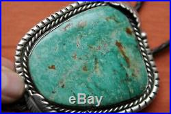 Vintage Hand Made Sterling Silver Native American Huge Turquoise Bolo Tie