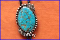 Vintage Hand Made Sterling Silver Native American Large Turquoise Bolo Tie