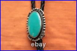 Vintage Hand Made Sterling Silver Native American Turquoise Bolo Tie