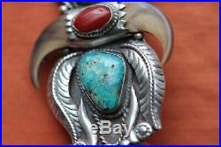 Vintage Hand Made Sterling Silver Native American Turquoise Coral Bolo Tie