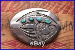 Vintage Hand Made Sterling Silver Turquoise Bear Paw Native American Belt Buckle
