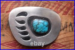Vintage Hand Made Sterling Silver Turquoise Bear Paw Turquoise Belt Buckle