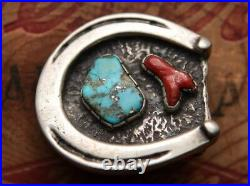 Vintage Hand Made Sterling Silver Turquoise Coral Lucky Horseshoe Belt Buckle