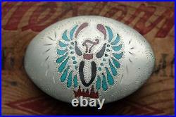 Vintage Hand Made Turquoise Coral Inlay Phoenix Bird Western Belt Buckle