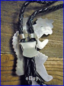 Vintage Hand Made Zuni Silver & Multi Stone Kachina Bolo
