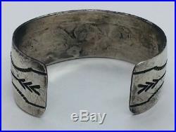 Vintage Hopi Native American Sterling Silver Wave Hand Made Cuff Bracelet