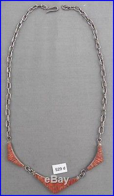 Vintage Indian Jewelry Necklace, Sterling & Coral, Signed, Hand Made Chain