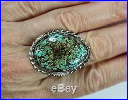 Vintage Men's Ring Hand Made Native Amer Indian Sterling Silver Turquoise Sz 10